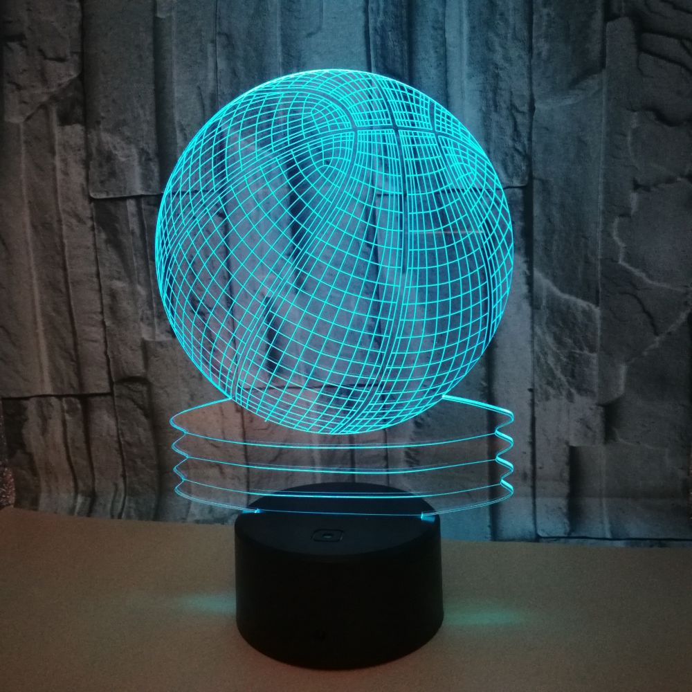 Night Light With Light Fixtures: Basketball 3d Night Light Colorful Touch Remote Control