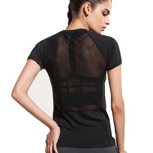 Women Black Short Sleeve Elastic Yoga Mesh Sports T Shirt Fitness Women's  Gym Running Black Tops Tee Quick Dry Shirts G-086