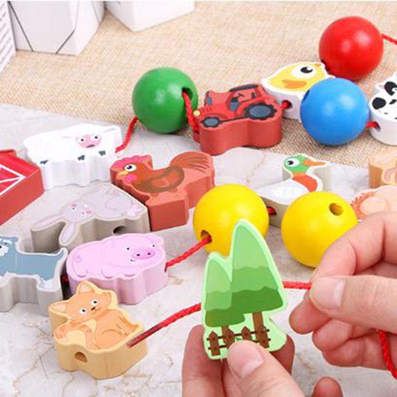 Wooden Animal Fruit Lacing Threading Beads Block Toys Learning Education Cartoon Colorful Products Kids Toys For Children
