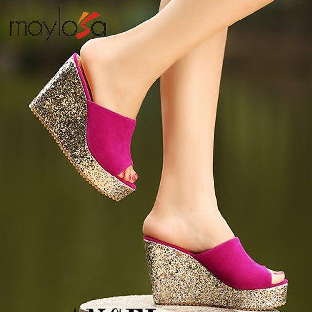 2014 принцесса клинья тапочки платформа женские туфли на платформе ультра высокие каблуки открытым носком вырез женские сандалии