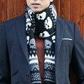 Мода Осень и зима мужчины теплый шарф вязание шерсть череп дизайн шарфы Корейских мужчин кашемир трикотажные пашмины