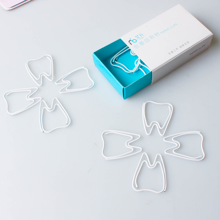 White Teeth Shaped Paper Clips Bone Calcium Clip Paper Clip White Tooth Paper Clips