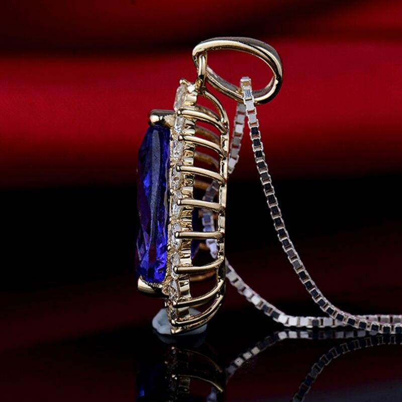 Pera 10x14mm 14Kt Oro Giallo Tanzanite Ciondolo di Diamanti, Naturale AAA Tanzanite Ciondolo, solido Ciondolo In Oro Per Le Donne E0080 - 5