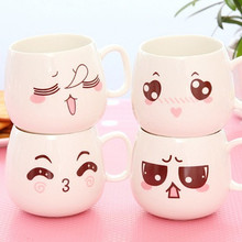 Фотография 1Pcs Creative Mug Porcelain Cup Cute Facial Expression Red Tea Mug Set Mug Coffee Cup Family Office Mug Household Items 7ZDZ105