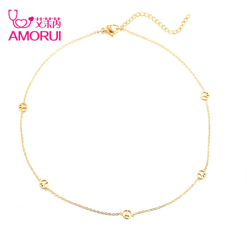 AMORUI moda las mujeres signo de la paz colgante collar oro plata Cadena de acero inoxidable de las mujeres de moda colgantes gargantilla joyería femenina