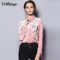 Willstage Velvet Shirt Women Full Sleeve Floral Printed Embroidery Blouse Office Ladies OL Shirts Work wear New 2019 Autumn Tops