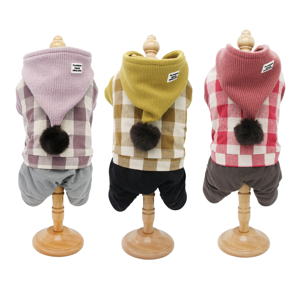 Dog Clothes For Autumn And Winter Outwear Knitted Plaid Style Four-legged Clothes For Small Dog Warm Jumpsuits For Pet Mascotas