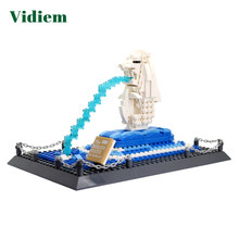 Vidiem Construction Blocks Toys For Children 6Years Famous Building THE MERLION STATUE Compatible With LegoFriends Small Bricks(China)