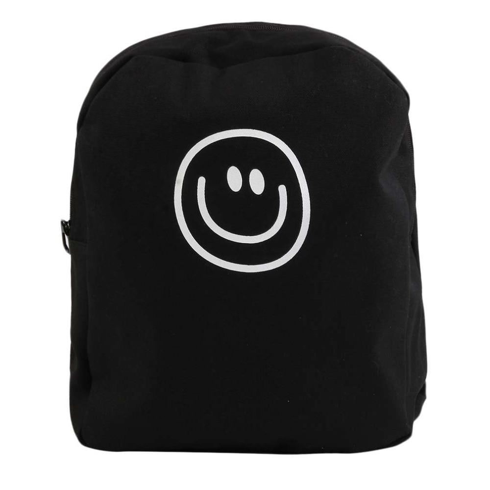 Korean Style Smile Face Expression Pattern Shoulder Bag Funny Design Men Women Unisex Canvas Backpack 4 Colors Optional 2016 Hot