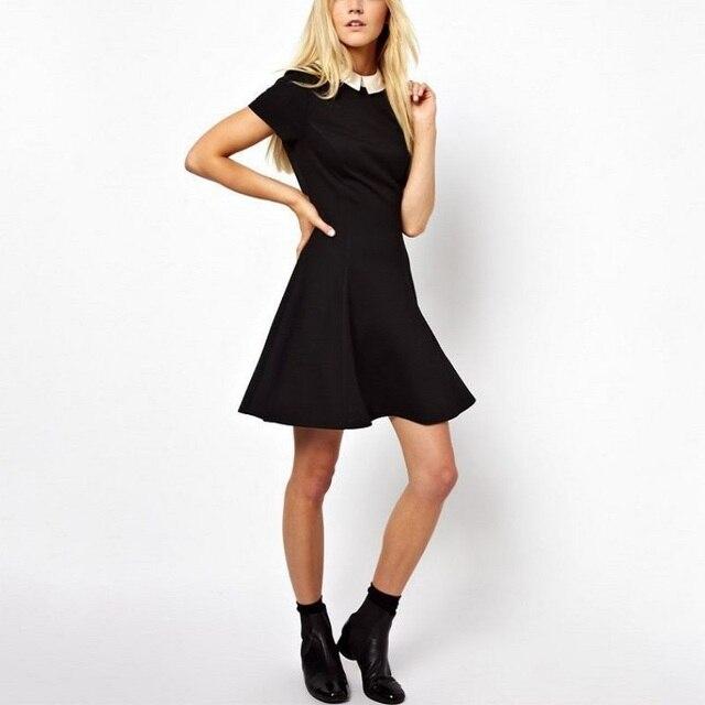 476df73572556 أزياء المرأة اللباس Vestidos بيتر بان طوق فساتين حزب قصيرة الأكمام الأسود  والأزرق اللباس المدرسة فستان