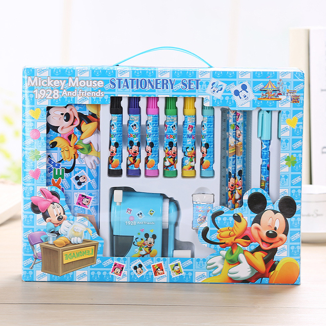 5fec272a44d4 US $15.68 45% OFF|14pcs/set character Mickey stationery set Cute pencil  bags set tudents school supplies children kids back to school study-in ...