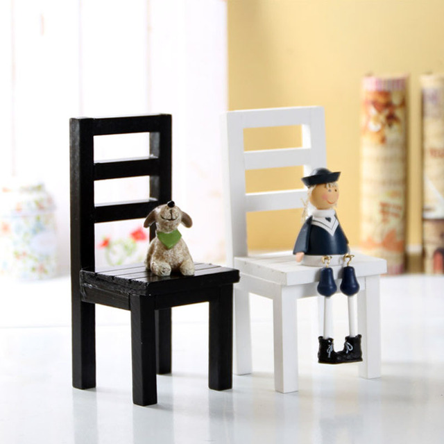 1Pieces Wood Chair Couch Miniature Toy Kid Handmade Model Birthday Christmas Gift Dollhouse Furniture Photography Decoration