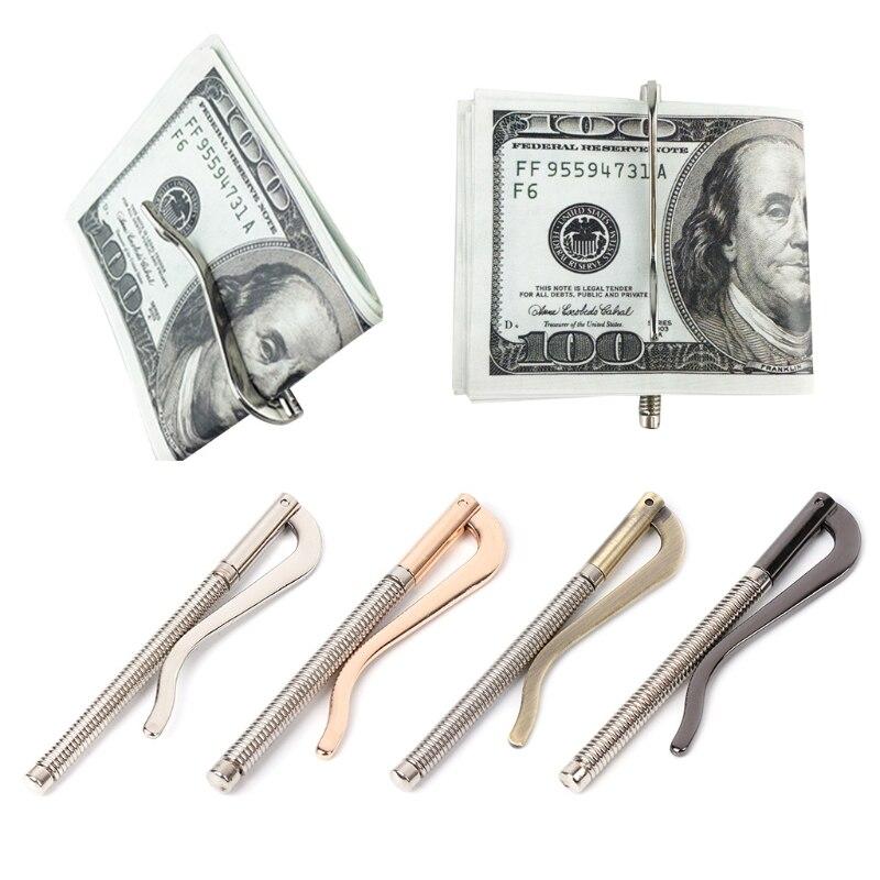 Metal bifold dinheiro clip bar carteira substituir peças primavera braçadeira titular do dinheiro de alta qualidade 8x1.5cm preto, prata, bronze, ouro presentes