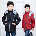 The new 2016 hooded detachable boy down jacket more pure color outdoor cuhk children's coat 80% wool