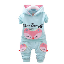 Spring Autumn Cotton Girl Clothes Suits Cartoon Pattern Fox Thick Sleeve Hoodies Pants 2Pcs Kids Sportswear