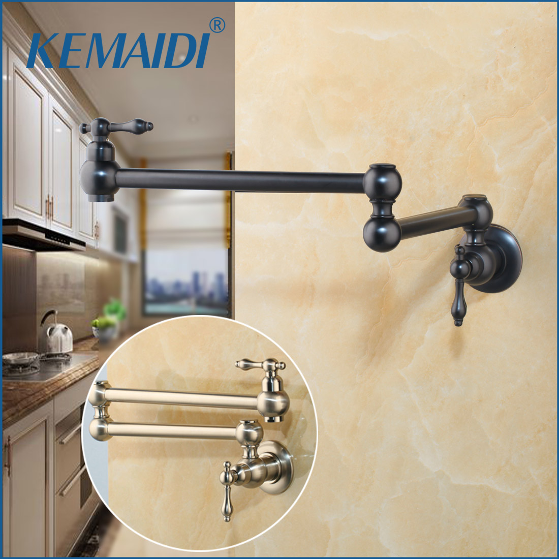 KEMAIDI Bronze Black Nickel Pot Filler Double Joint Spout Folding Stretchable Swing Arm Wall Mounted Brass Kitchen Faucet Tap