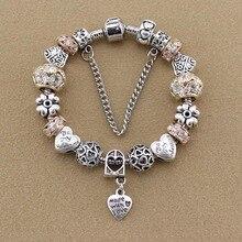 Manufacturers selling apricot glass bead bracelet DIY peach heart pendant alloy bead bracelet by Jewelry