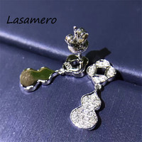 LASAMERO 0.2CTW Gourd Shape Cut Natural Diamond 18k White Gold Earrings For Women Statement Ethnic Earring Fine Jewelry