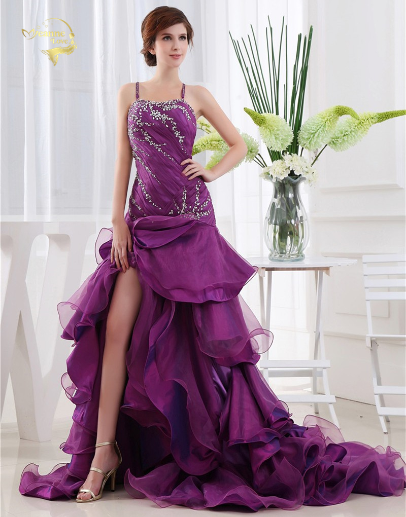 2019 новый дизайн пикантные Vestidos De Festa органзы Фиолетовый молния сзади Вечерние Платье спинки кисточкой Формальные Вечерние платья TH1219