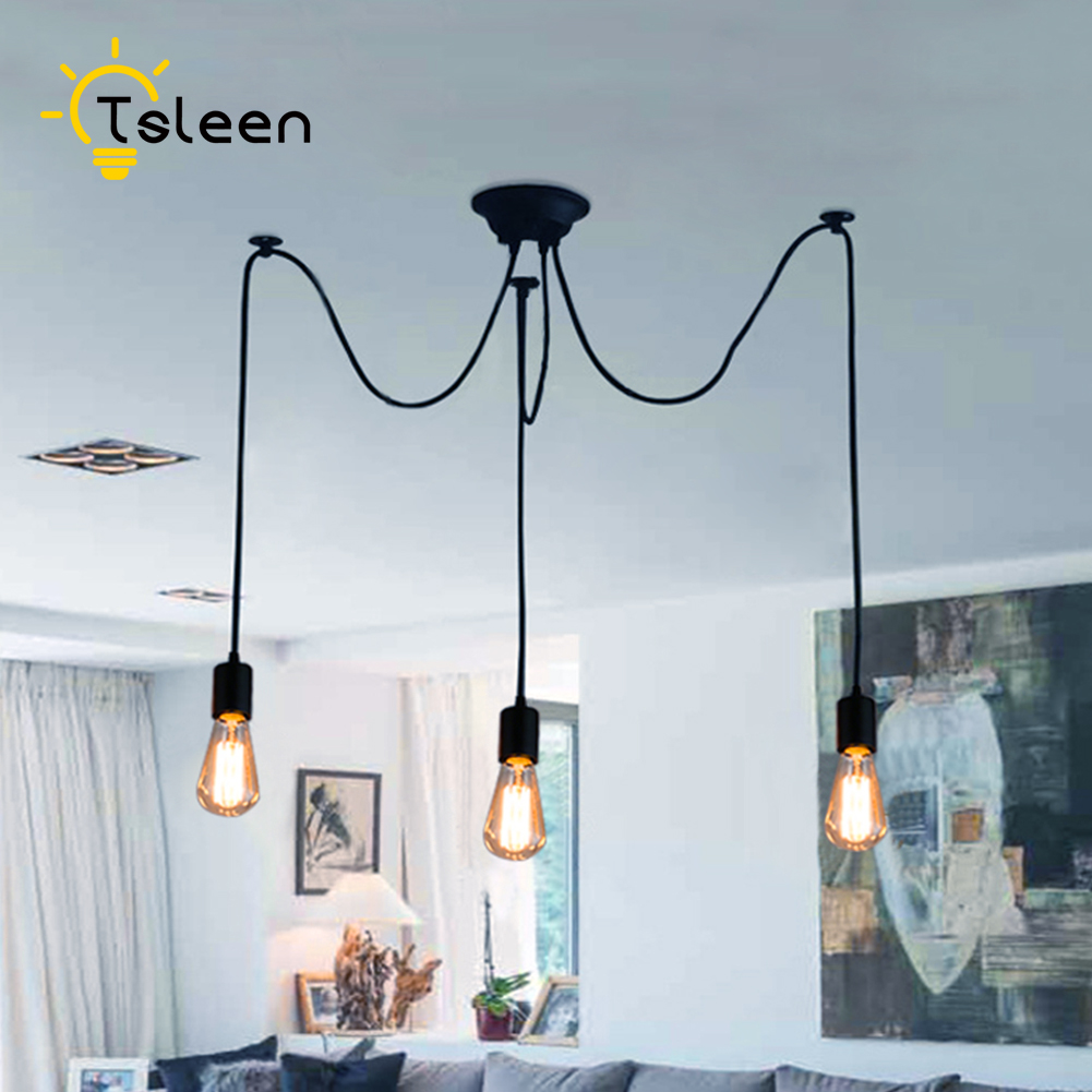TSLEEN Retro Edison Bulb Art Spider Pendant Chandelier Vintage Loft Antique DIY E27 Ceiling Lamp Fixture Adjustable Swag Lights hemp rope chandelier antique classic adjustable diy ceiling spider lamp light retro edison bulb pedant lamp for home