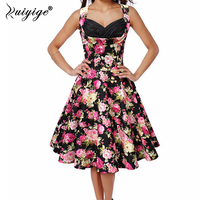 2017 Summer Robe Retro Floral Printed Tunic Rockabilly Dress Jurken 60s Swing Floral Pin Up Women