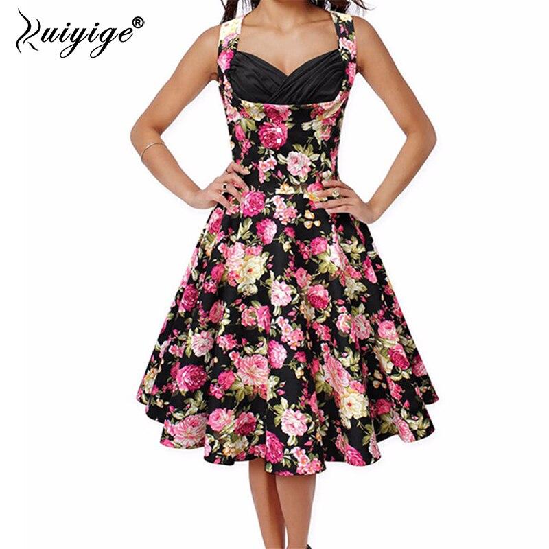 Ruiyige 2018 Summer Robes Retro Floral Printed Tunic Rockabilly Dress jurken 50s 60s Swing Women Midi party Vintage Dresses