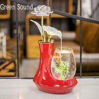 Классическая фонтан воды дома украшения аквариума течет вода керамики фонтан фигурки миниатюры