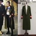 2016 Verde Del Ejército abrigo de lana prendas de vestir exteriores del diseño largo femenino
