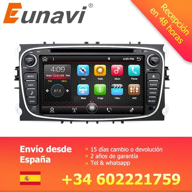 Eunavi 2 din Android 7.1 8.1 Quad Core Lecteur DVD de Voiture GPS Navi pour Ford Focus Galaxy Audio Radio Stéréo wifi Tête Unité 1024*600