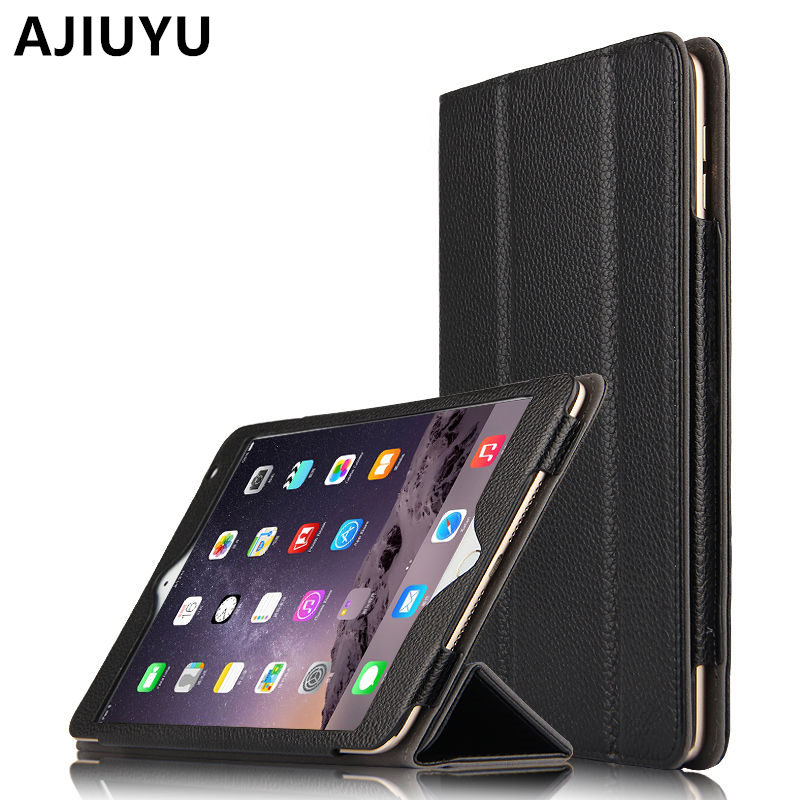 AJIUYU Genuine Leather For Apple iPad Air 2 Case Cowhide Smart Cover Protective Protector For iPadAir2 Air2 Tablet 9.7inch Cases
