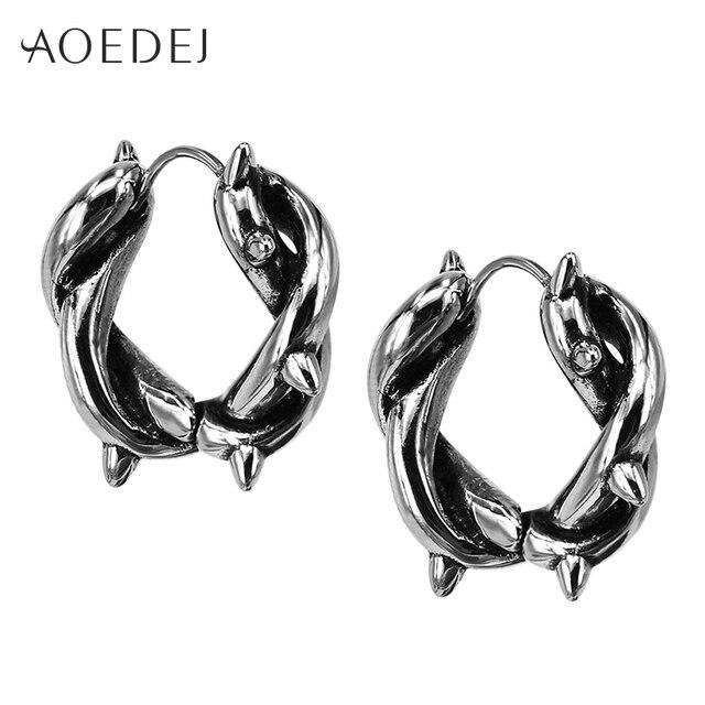 7dcb18b09 AOEDEJ Mens Spike Earrings Men Stainless Steel Crystal Small Hoop Earrings  For Men Punk Circle Earrings
