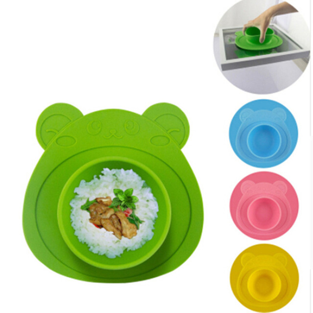 Kids Children Baby Plate Dishes Bowl With Suction Cup Silicone Feeding Food Plate Tray Dishes For Baby Toddler 100% Silicone