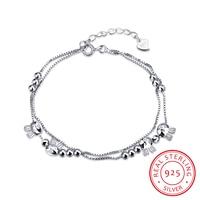 925 Sterling Silver Lovely Rabbit Double Layer Chain Link Wristband Bracelet Hand Bracelets for Women Armband