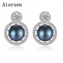 Aiersen Lyxiga Kvinnor Stud Örhängen Natur Pärla Charm Brincos Zircon Handgjorda 925 Sterling Silver Smycken Ladies Earring