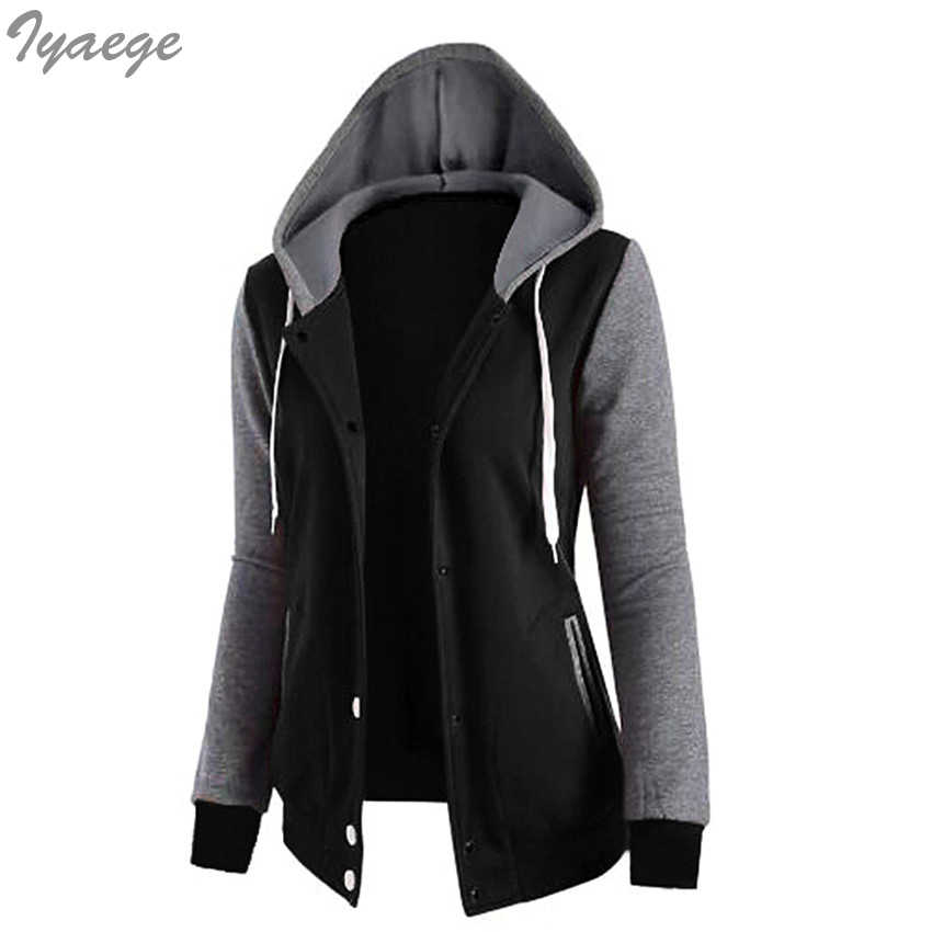 Patchwork z kapturem kurtki płaszcze jesień kobiety rozpinana kurtka college znosić panie kieszeń 2019 luźne nowe dół płaszcze Hip Hop kobiety