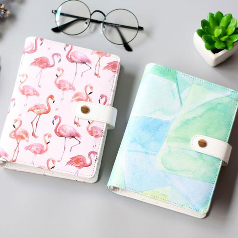 JUGAL Cute Flamingo Watercolor Spiral Notebooks A6 Leather Planner Notepad Korea Stationery DIY Diary School Supplies Gift cute spiral leather notebook stationery fine planner notebooks diary with lock office school supplies multifunction notepad