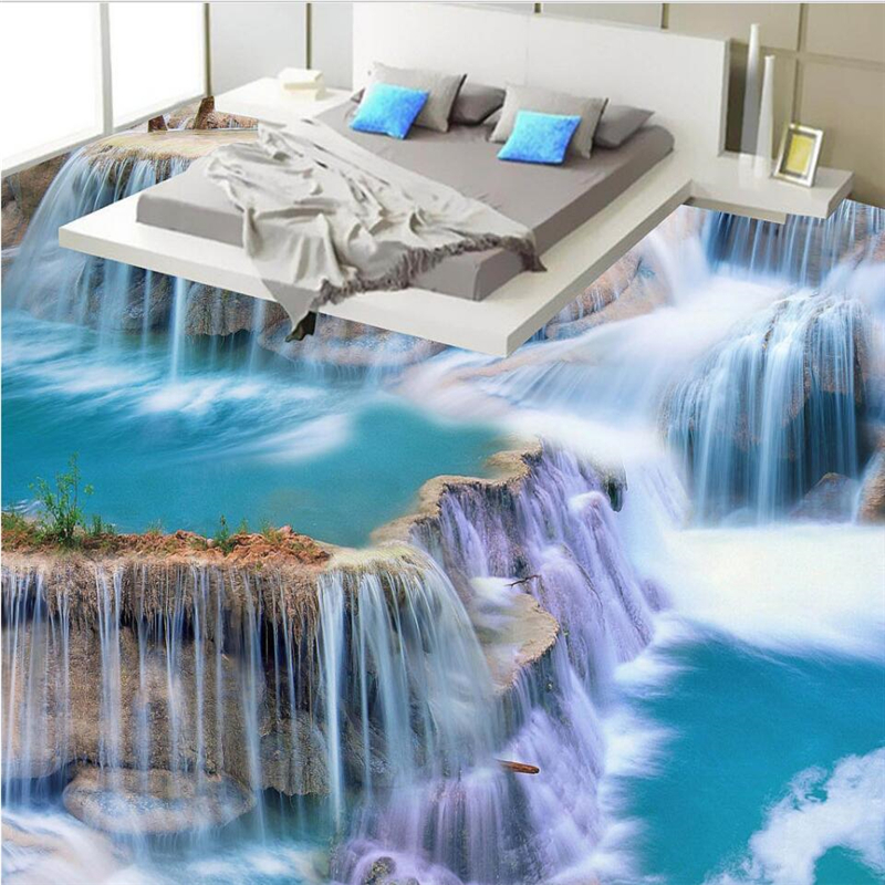 beibehang Waterfalls water production 3D stereoscopic floor tiles to map custom large fresco floor paste papel de parede biomonitoring with clarias gariepinus