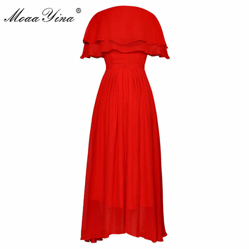 MoaaYina модное дизайнерское подиумное платье Весна Лето Женское платье бриллиантовый бант элегантные вечерние шифоновые платья + маленький плащ