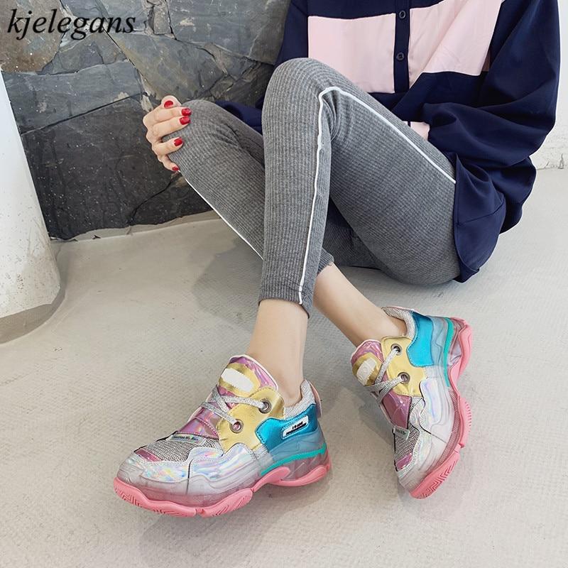 Kjelegans 2019 dazzing couleurs mélangées mode femmes baskets respirant basket femme loisirs chaussures chaussures à semelles compensées tenis feminino