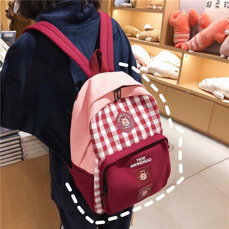 Harajuku brève grille sac à dos blanc noir femmes voyage Plaid sac à dos Sirt Cantasi étudiants toile sur sac à bandoulière Mochila