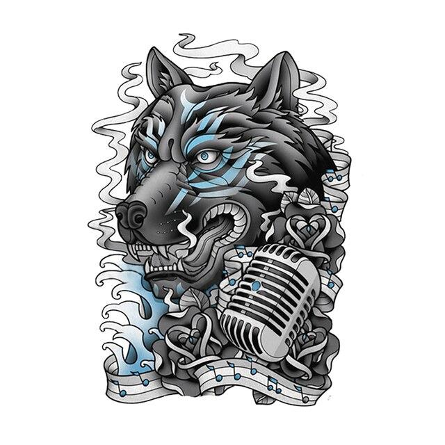Bintang Musik Serigala Tattoo Temporary Tattoo Stiker Desain Besar