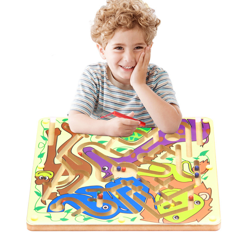 Wooden Children's Toys Magnetic Maze Beads Game Cartoon Animal Labyrinth Magnetic Beads Combo Combo Educational Toys Fun Toys цена