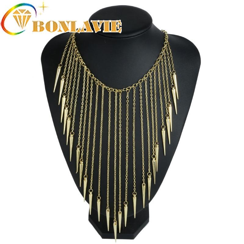 2018 New 3 Colors Vintage Long Tassel Rivet Pendant Necklace For Women Collar Fashion  Choker Necklace Punk Chain Jewelry