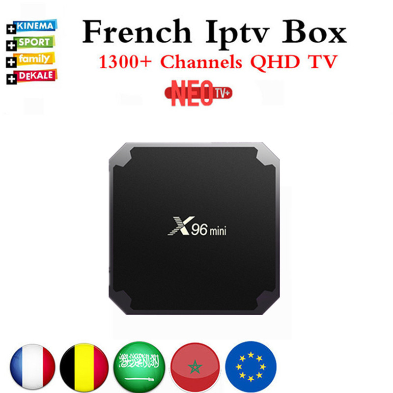 French IPTV X96mini 4k Android 7.1 TV Box with 1300+ NEO IPTV Europe French Arabic Spain Tunisia Morocco PayTV Smart <font><b>Set</b></font> <font><b>top</b></font> Box