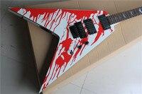 Free Shipping New Arrival L T D Custom V model Blood Tears Electric Guitar Floyd Rose Bridge 10yue