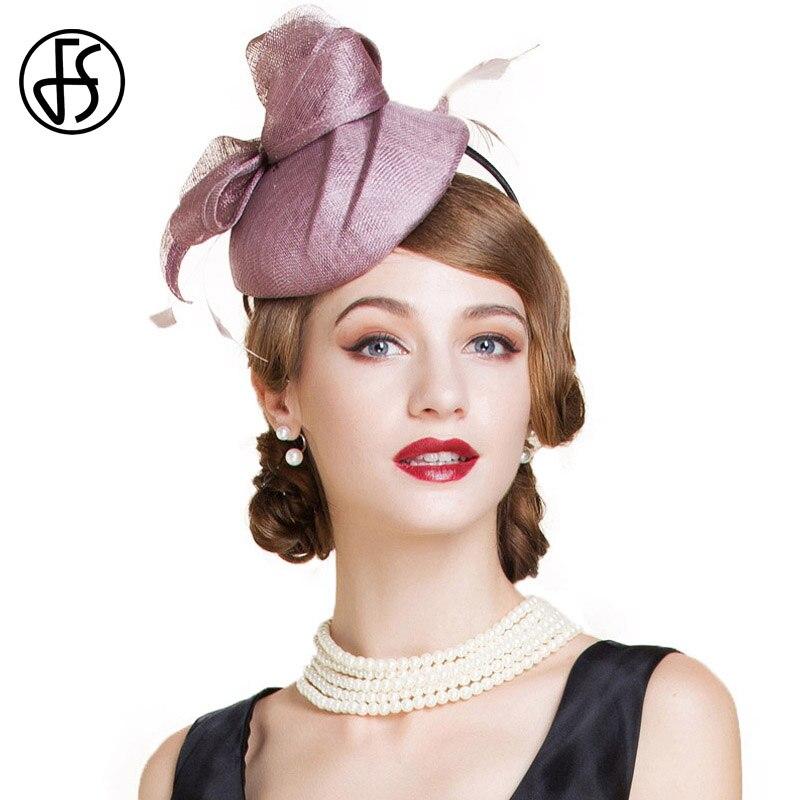FS Sinamay Hats Women Summer Linen Pink Bowknot With Rhinestones Feather Pillbox Vintage Wedding Ladies Fascinators