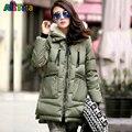 Maternidade casaco de inverno Engrossar Para Baixo Casaco Militar Com Capuz Longo Solto Sólida para Mulheres Grávidas Gravidez Casacos Outerwear Jaquetas M