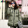 Maternity winter coat Military Long Loose Hooded Solid Thicken Down Coat for Pregnant Women Pregnancy Coats Outerwear Jackets M