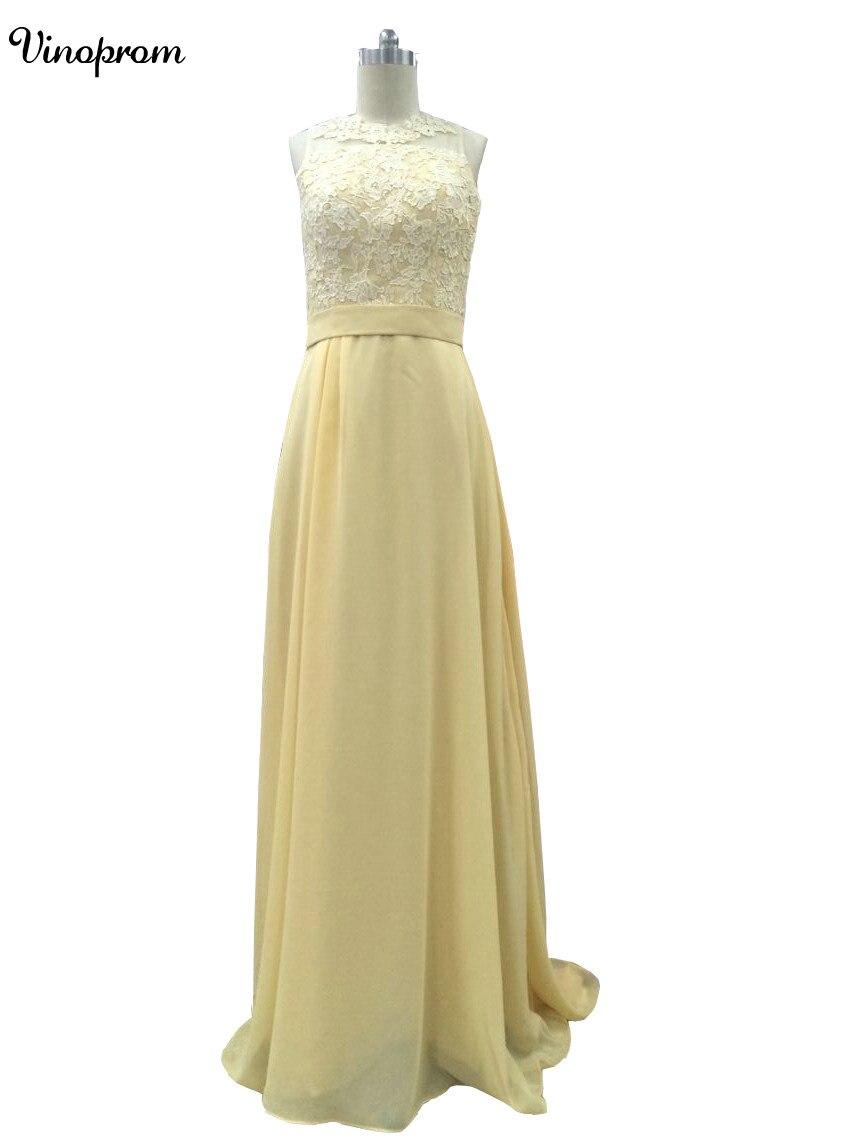 Пикантные желтые прямые платье для выпускного вечера ES 2017 шифон Кружева Аппликации овальным вырезом платье для выпускного вечера для вечер...