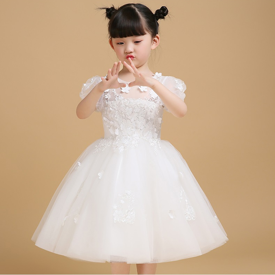 Ball Gown Short Sleeves Knee Length White Dress Summer Flower Girl Dresses ball gown short sleeves knee length summer flower girl dresses girls party pageant communion dress